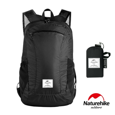 Naturehike 18L云雁超輕量防水摺疊後背包 攻頂包 黑色-急