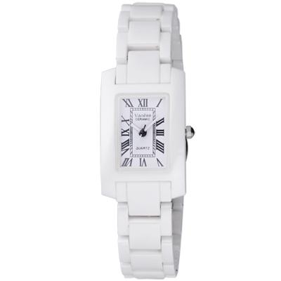 Vaness 經典透亮羅馬時刻陶瓷腕錶-白/22mm