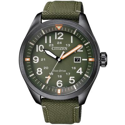 CITIZEN 星辰 硬派型格光動能腕錶(AW5005-21Y)-綠/42.5mm