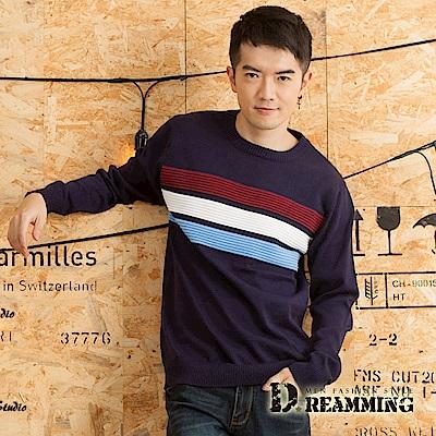 Dreamming 撞色橫條壓紋拼接圓領針織毛衣-共四色