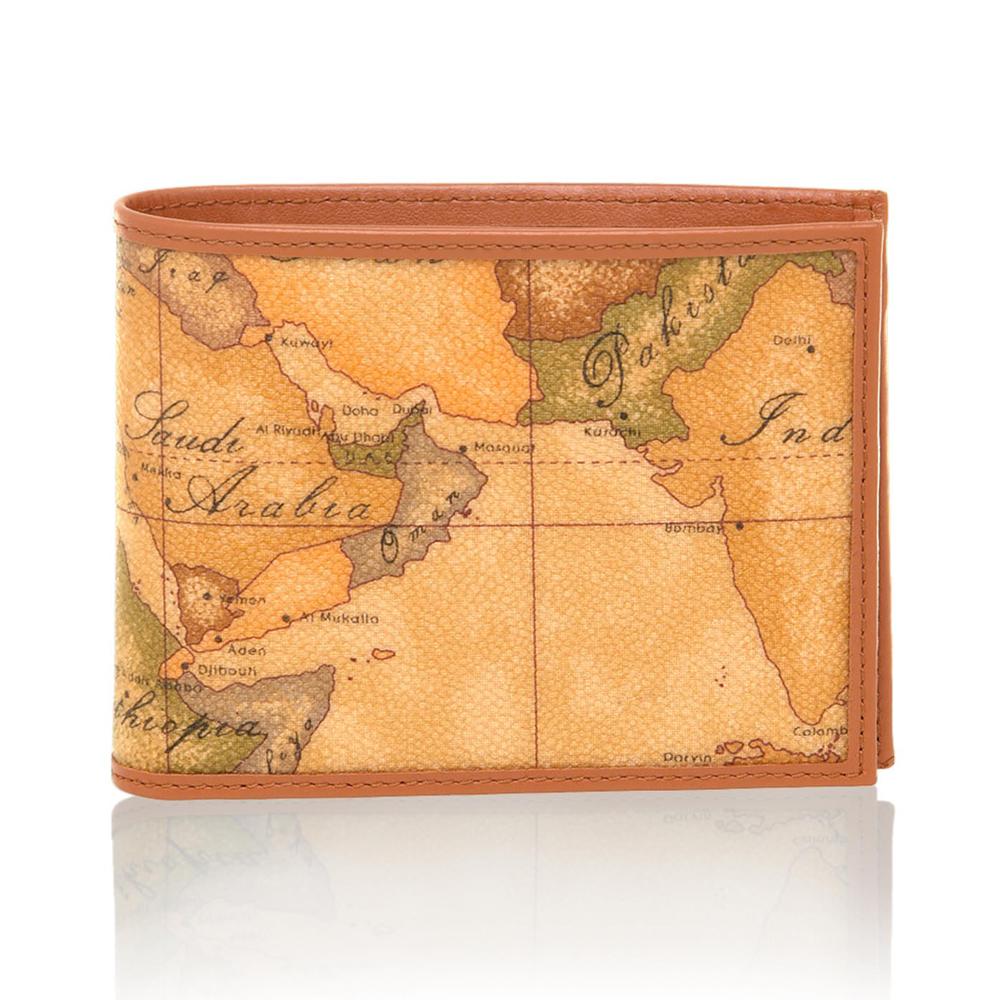 Alviero Martini 義大利地圖包 旅行系列 男用4卡零錢袋短夾-地圖黃