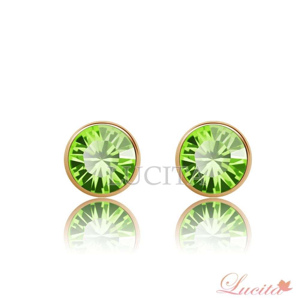 Lucita 耳環 彩鑽金邊耳環 (青草綠)