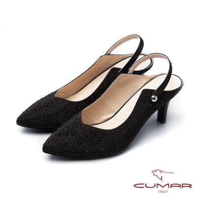 CUMAR活力花綴小V口貼鑽後空兩穿式高跟鞋黑