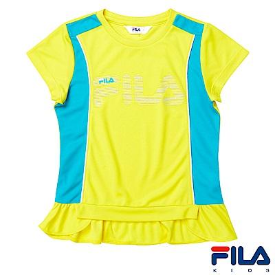 FILA KIDS 女童吸濕排汗上衣-黃5TES-4411-YE
