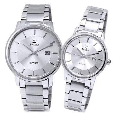 SIGMA 都會俐落時尚情人對錶-銀/30/40mm