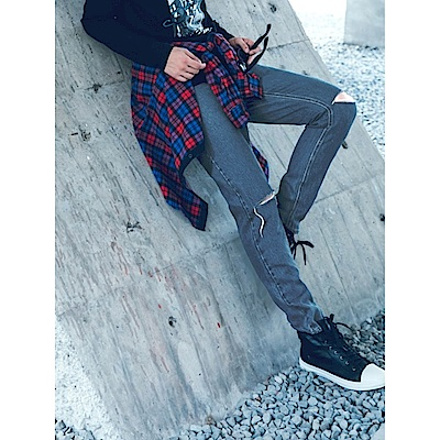 個性刷破直筒牛仔長褲‧2色-OB大尺碼