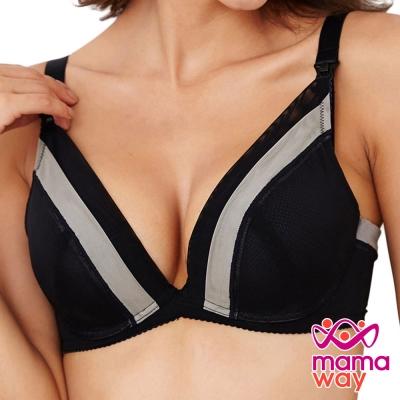 哺乳內衣 孕期內衣 色塊剪接哺乳內衣(黑色) Mamaway