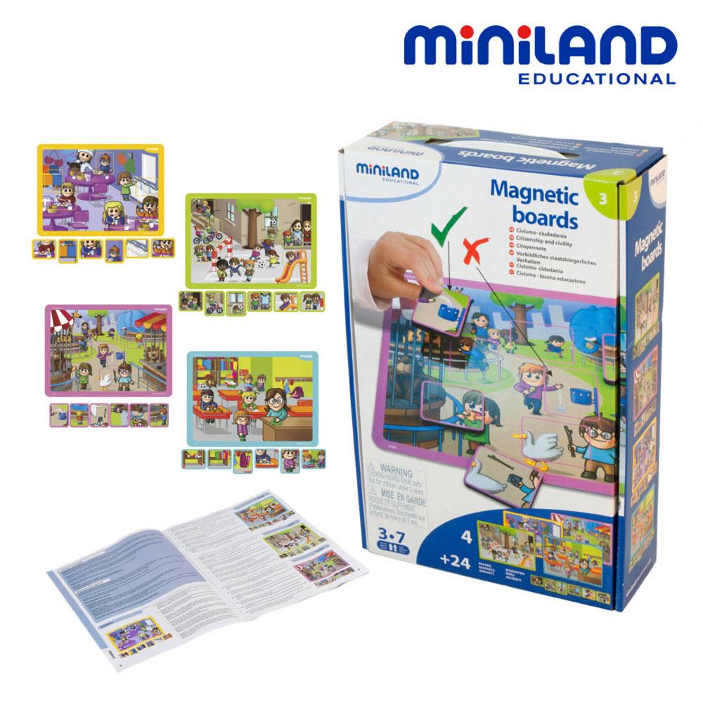 【西班牙Miniland】情境學習磁鐵板-守秩序組