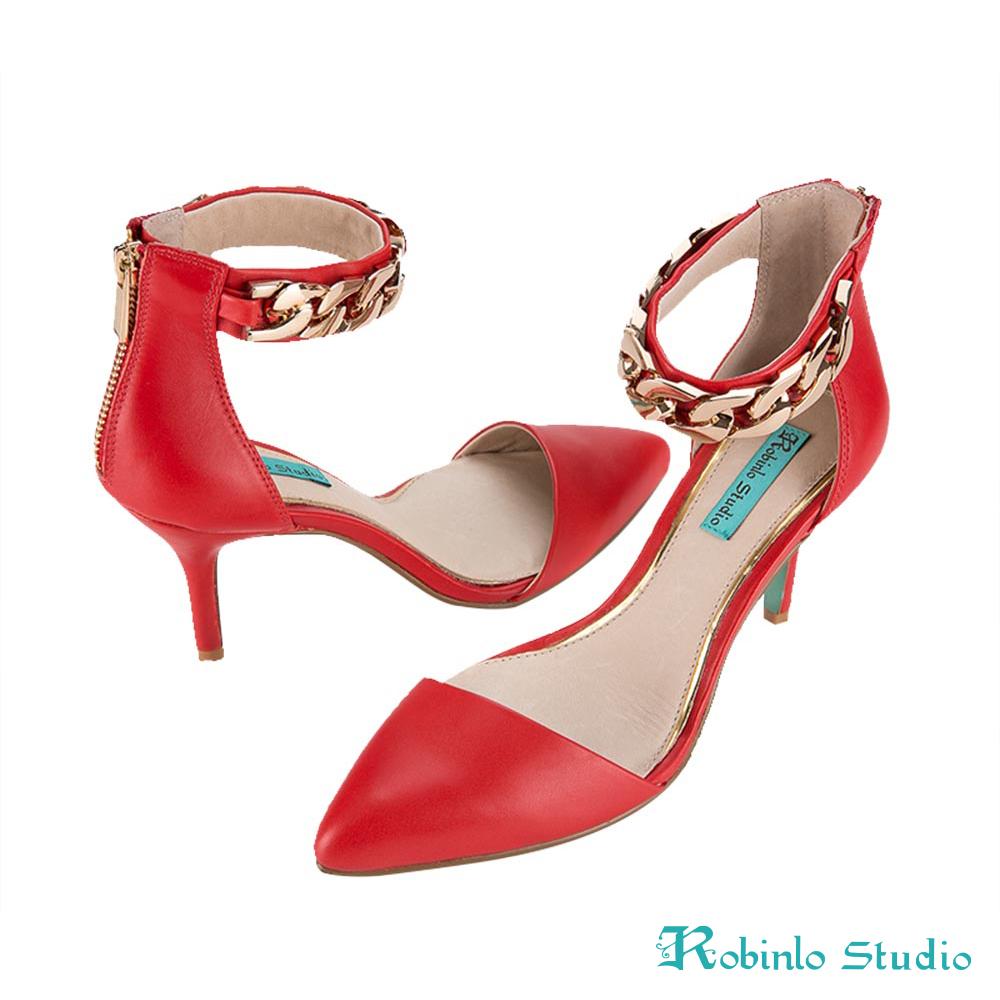 Robinlo Studio 真皮尖頭金屬鍊條高跟涼鞋 紅