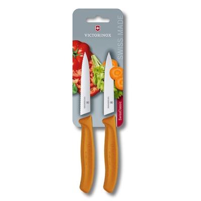 VICTORINOX瑞士維氏 水果刀(兩件裝)-橘