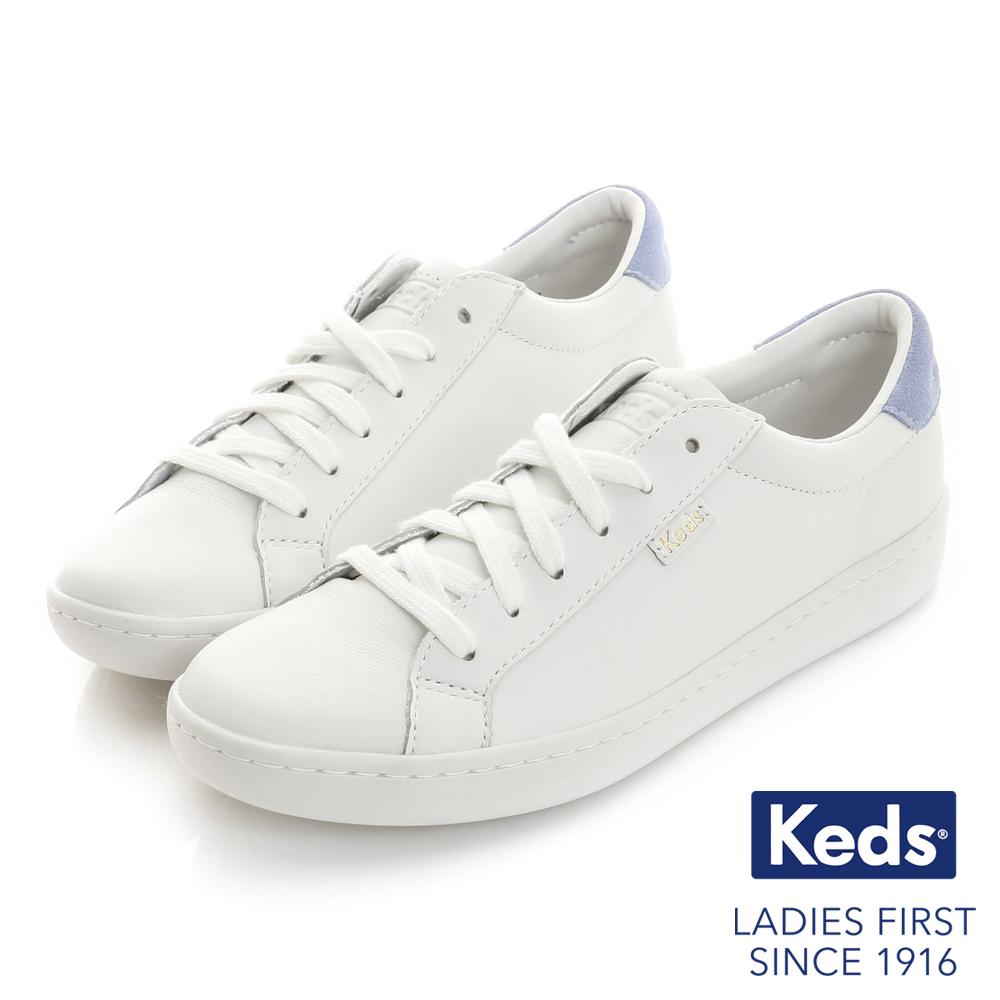Keds ACE復古運動皮質綁帶休閒鞋-白粉紫