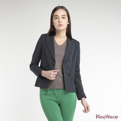 KeyWear奇威名品-網路獨家-經典英式格紋雙排釦西裝外套