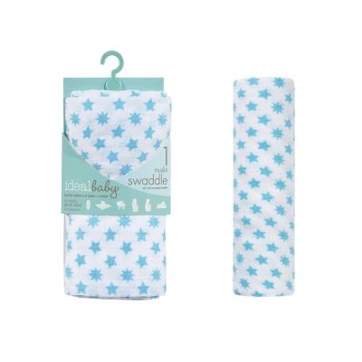 美國idealbaby 輕柔新生兒包巾(1入)-藍星星 IB133