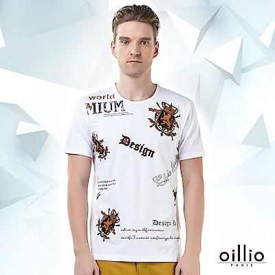 歐洲貴族oillio 短袖T恤 貴族印花 DESIGN印花 白色