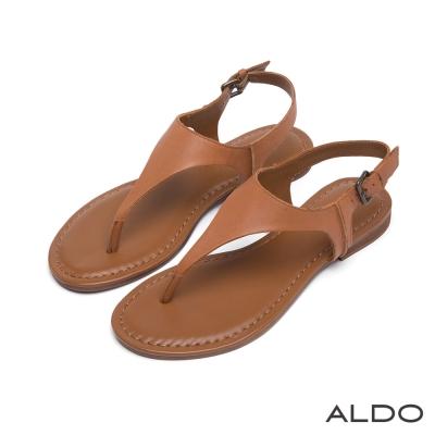 ALDO-原色真皮V字金屬繫帶夾腳涼鞋-氣質焦糖