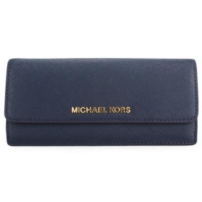 MICHAEL KORS 金色LOGO防刮皮革薄型壓釦長夾-深藍