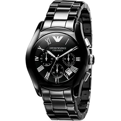 ARMANI 經典陶瓷三眼計時腕錶-黑