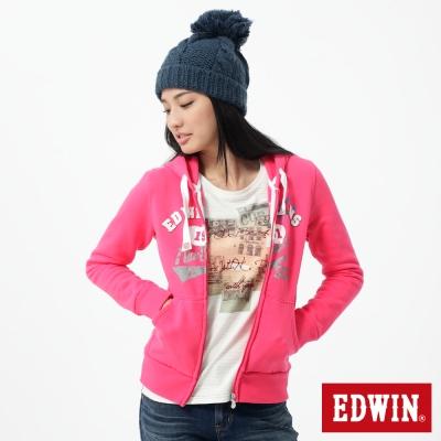 EDWIN 連帽外套 LOGO貼布繡拉T-女-桃紅