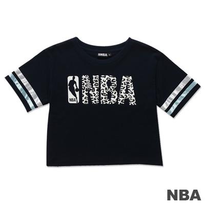 NBA-美國NBA圓領印花壓條短版T恤-深藍-女