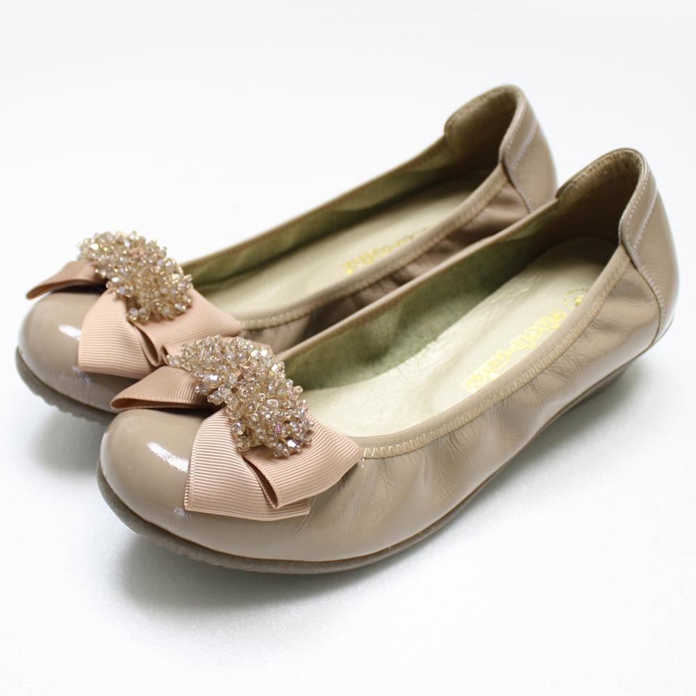 【ohoh-mini 孕婦裝 】晶彩珠飾蝴蝶結氣墊鞋 / 孕婦鞋(杏色)