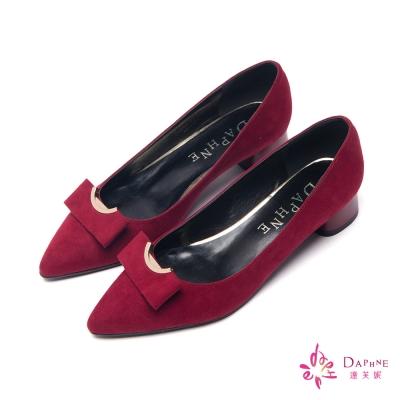 達芙妮DAPHNE-別緻風格圓弧蝴蝶結粗跟鞋-酒紅
