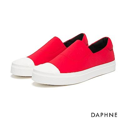 達芙妮DAPHNE 休閒鞋-布面縫線素色厚底懶人鞋-紅