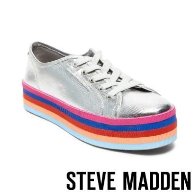 STEVE MADDEN-RAINBOW-SILVER-厚底綁帶休閒鞋-銀色