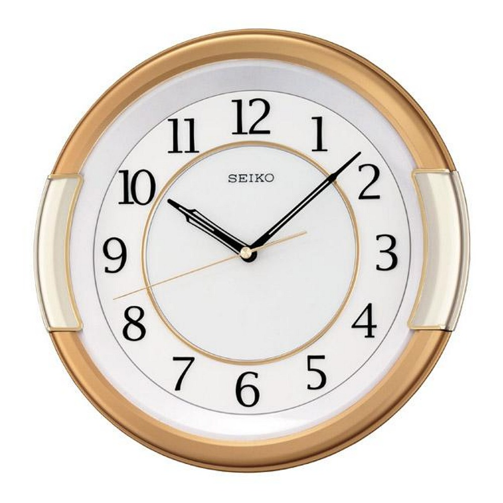 SEIKO 精工 經典掛鐘-白x金黃框/30.8cm
