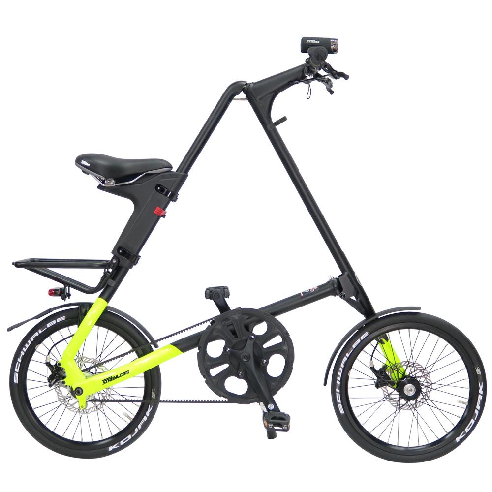 STRiDA 速立達 18吋SX 折疊碟剎單車(三角形單車)截色螢光黃-壓克力平光黑
