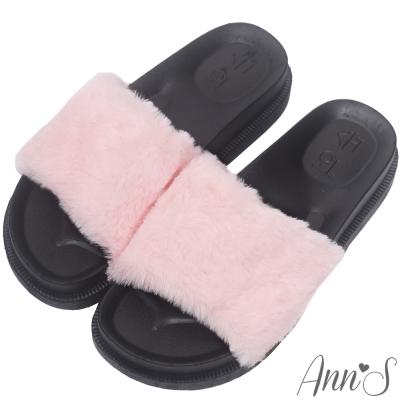 Ann'S韓國時尚厚底超軟毛毛拖鞋-粉