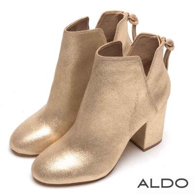 ALDO 原色真皮V字切口拉鏈粗跟短靴~時尚金色
