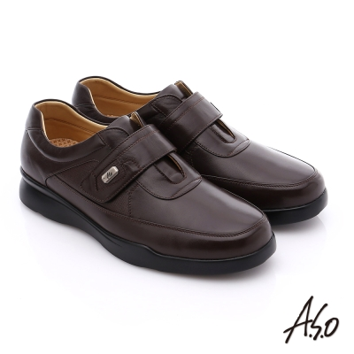 A.S.O 厚切氣墊 真皮魔鬼氈奈米皮鞋 咖啡色