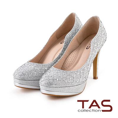 TAS-璀璨水鑽波浪曲線高跟鞋-華麗銀