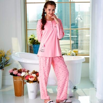 睡衣 精梳棉柔針織 長袖兩件式睡衣(67215)粉色 蕾妮塔塔