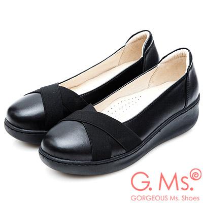G.Ms. 牛皮交叉鬆緊帶厚底坡跟鞋-黑色