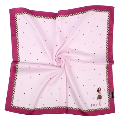 DAKS 率性女孩滿版點點純棉帕領巾-粉/桃紅色