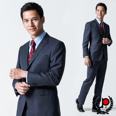 極品西服-義式細格紋小劍領西裝外套-紫格-AW407-3G