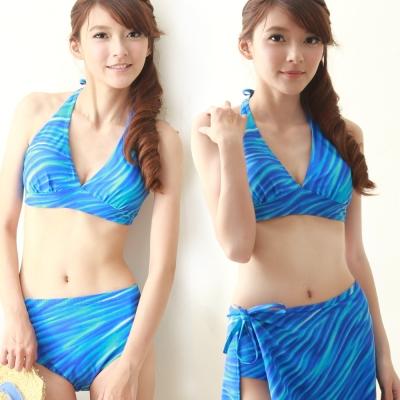 TiNyHouSe三件式片裙比基尼泳裝 藍色系漸層水波印花