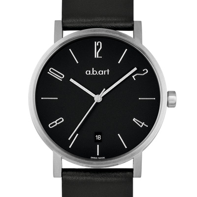 a.b.art O系列 當代德風極簡時尚腕錶-黑/40.5mm