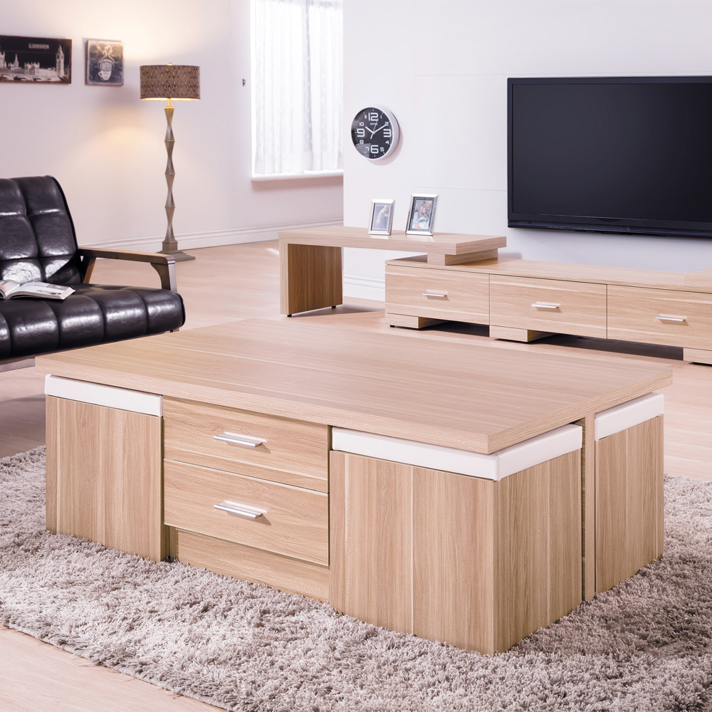 Boden-法爾4.3尺北歐風大茶几(附收納椅凳)-130x70x45cm