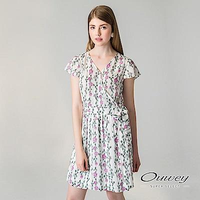 OUWEY歐薇 交衩綁帶涼感印花洋裝(白)