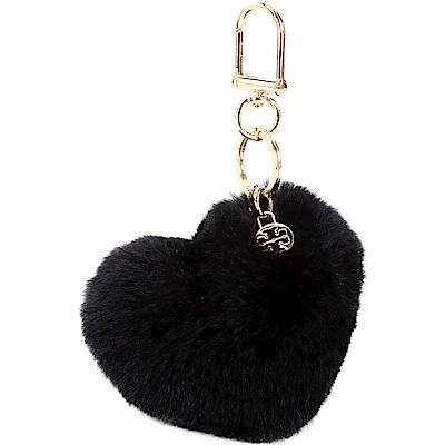 TORY BURCH Heart 心型毛球鑰匙圈(黑色)