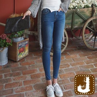 正韓  高腰貼腿顯瘦刷白窄管-(藍色)100%Korea Jeans