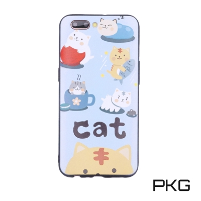 PKG OPPO R11 彩繪保護殼-浮雕彩繪-日常貓
