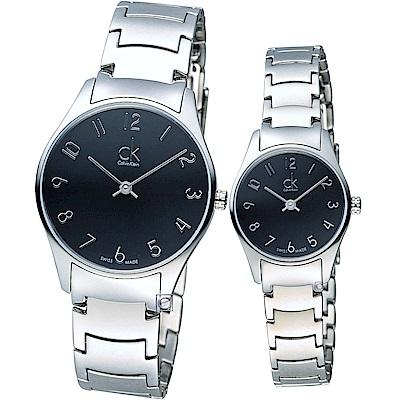 Calvin Klein 經典系列時尚對錶(K4D2214X+K4D2314X)黑