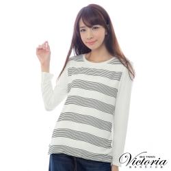 Victoria 條紋雪紡雙層拼接TEE-女-白色