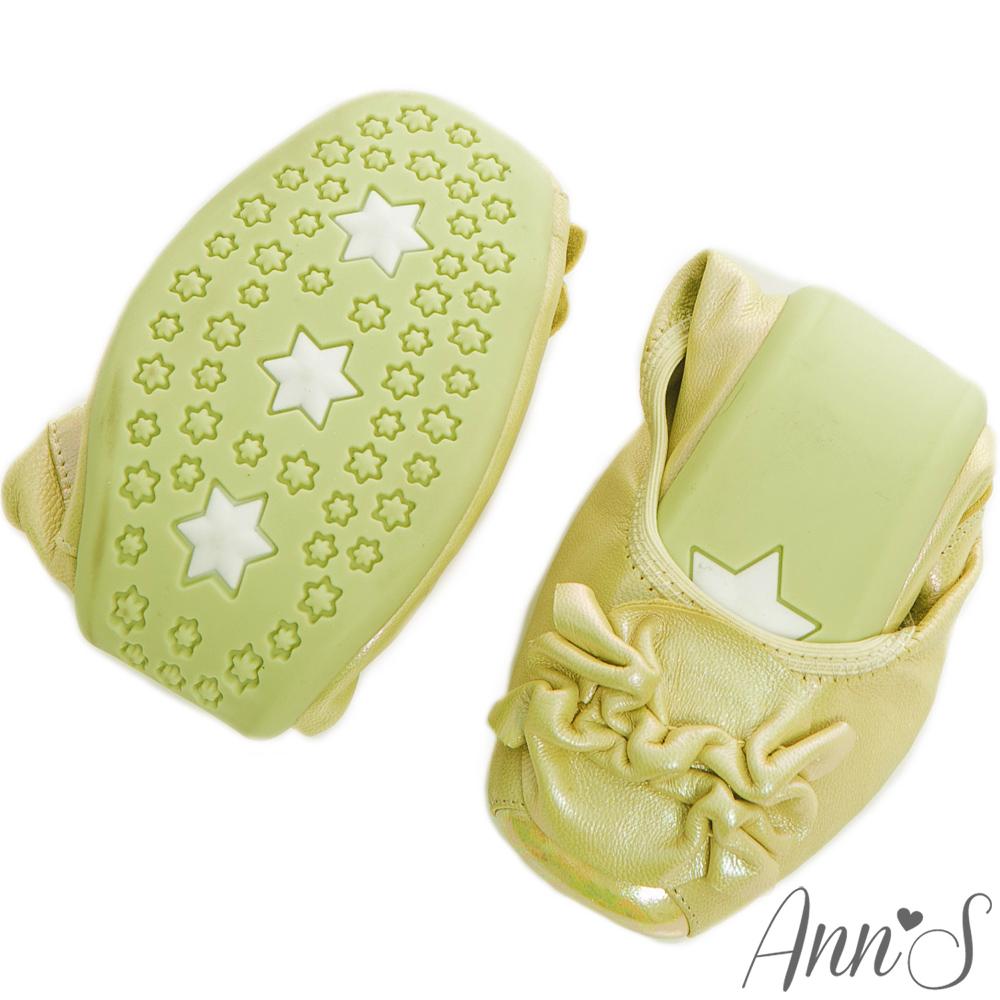 Ann'S輕巧旅行-全真皮光澤綿羊皮抓皺花朵摺疊鞋 果綠