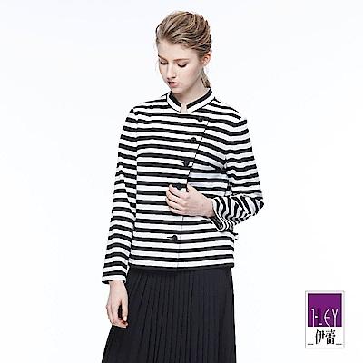 ILEY伊蕾 休閒條紋質感外套魅力價商品(黑)