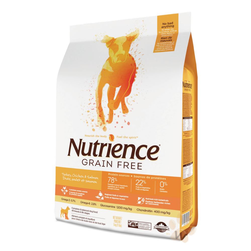 美國Nutrience紐崔斯 無穀火雞鮭魚犬糧 2.5kg 1入