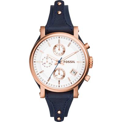 FOSSIL 雅典女仕時尚計時腕錶-玫瑰金框x藍/ 38 mm